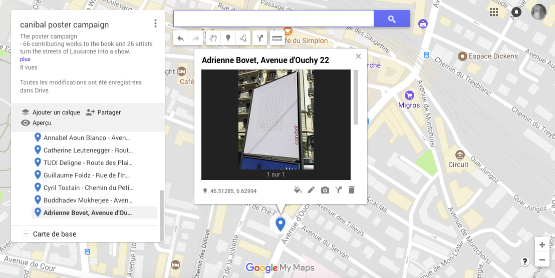 Adrienne Bovet, avenue d'Ouchy 22, Lausanne-map