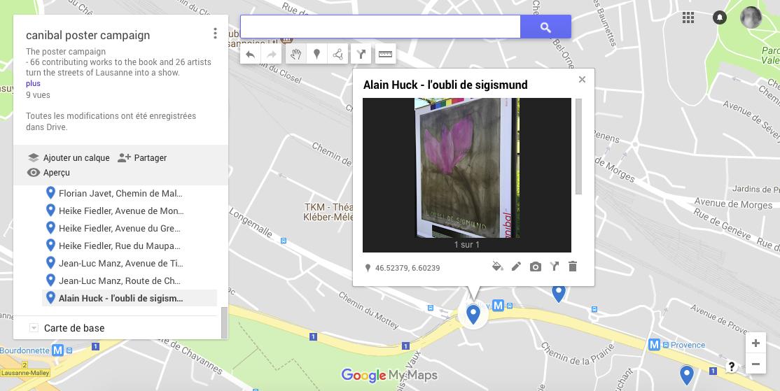 Alain Huck, avenue de provence, Lausanne-map