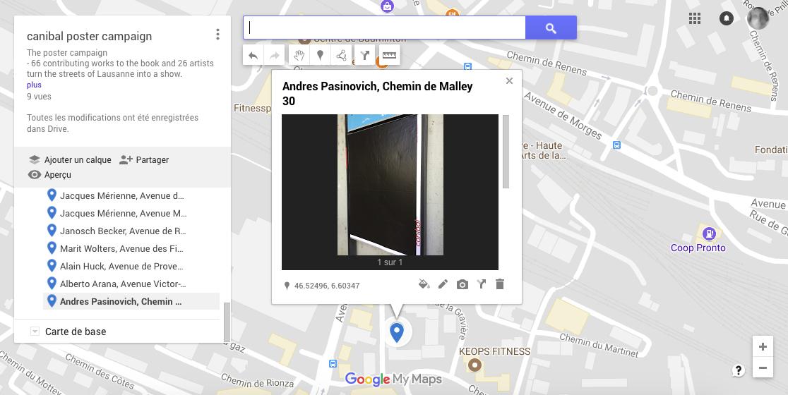 Andres Pasinovich, chemin de malley 30, Lausanne-map