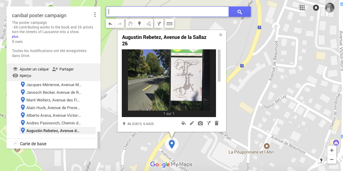 Augustin Rebetez, avenue de la sallaz 26, Lausanne-map