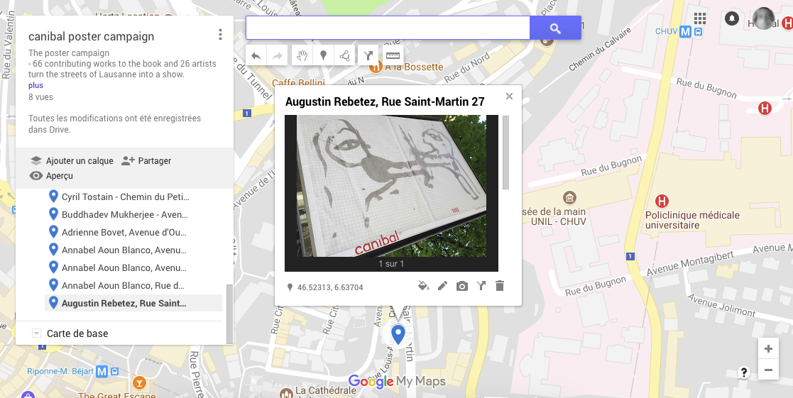 Augustin Rebetez, rue st martin 27a, Lausanne-map