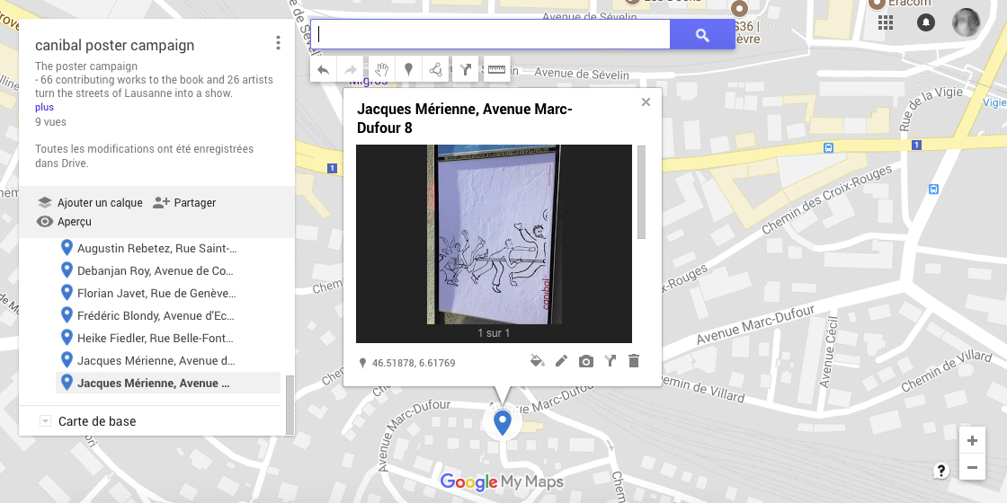 Jacques Mérienne, avenue Marc-Dufour 8, Lausanne-map