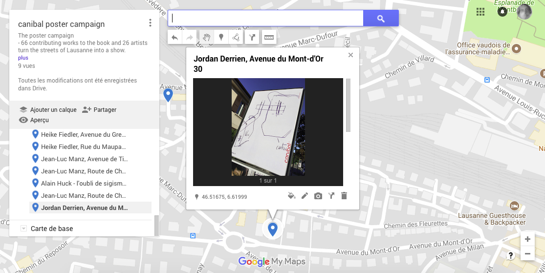 Jordan Derrien, avenue du mont-d'or 30, Lausanne-map
