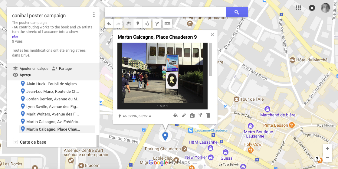 Martin Calcagno, Place Chaurderon 9, Lausanne-map