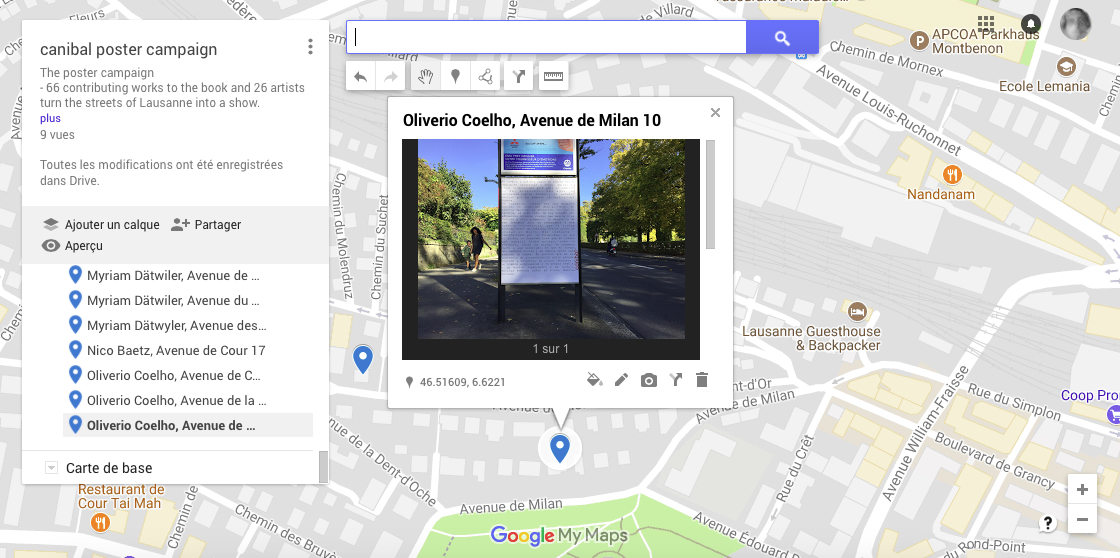 Oliverio Coelho, avenue de milan 10, Lausanne-map